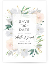 This is a grey save the date postcard by Bonjour Paper called Grande Botanique with standard printing on signature in postcard.