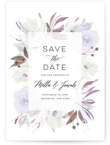 This is a botanical, painterly, purple Save the Dates by Bonjour Paper called Grande Botanique with Standard printing on Signature in Postcard Flat Card format. A wedding invitation featuring a whimsical watercolor frame
