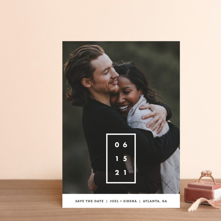 """Cherished Date"" - Bold typographic, Minimalist Save The Date Postcards in Pearl by Chryssi Tsoupanarias."