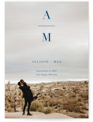 This is a bold and typographic, bold typographic, minimalist, simple, simple and minimalist, blue Save the Dates by Ashley Lopez called Stacked Initials with Standard printing on Signature in Postcard Flat Card format. This simple save the date showcases the ...