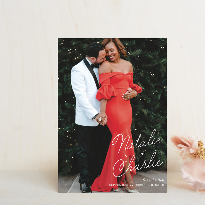 """""""Namely"""" - Save The Date Postcards in Ivory by Kaydi Bishop."""