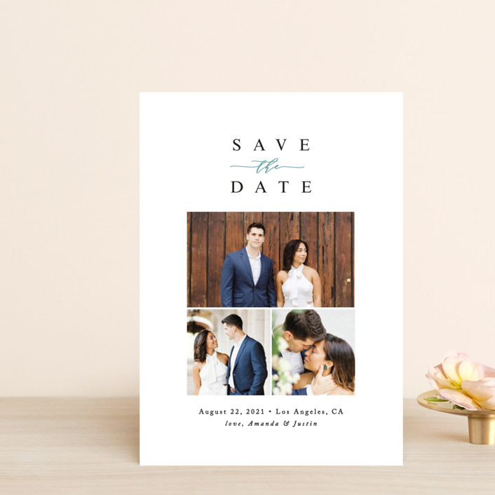"""""""Fine Love"""" - Save The Date Postcards in Ocean by Ana Sharpe."""