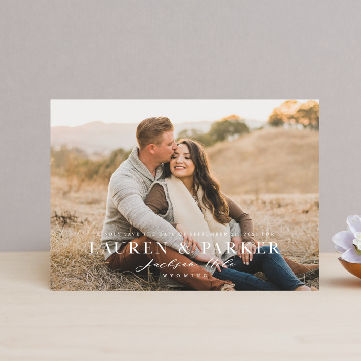 """""""Classic Touch"""" - Save The Date Postcards in Pearl by Oscar & Emma."""
