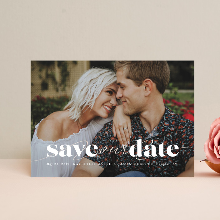 """""""Swoon"""" - Save The Date Postcards in Vanilla by Lea Delaveris."""