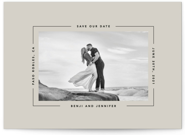 This is a minimalist, simple, simple and minimalist, brown Save the Dates by Laura Hamm called Aperture with Standard printing on Signature in Postcard Flat Card format. Clean and modern