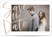 This is a brown save the date postcard by Vine and Thistle called Simple Love with standard printing on signature in postcard.
