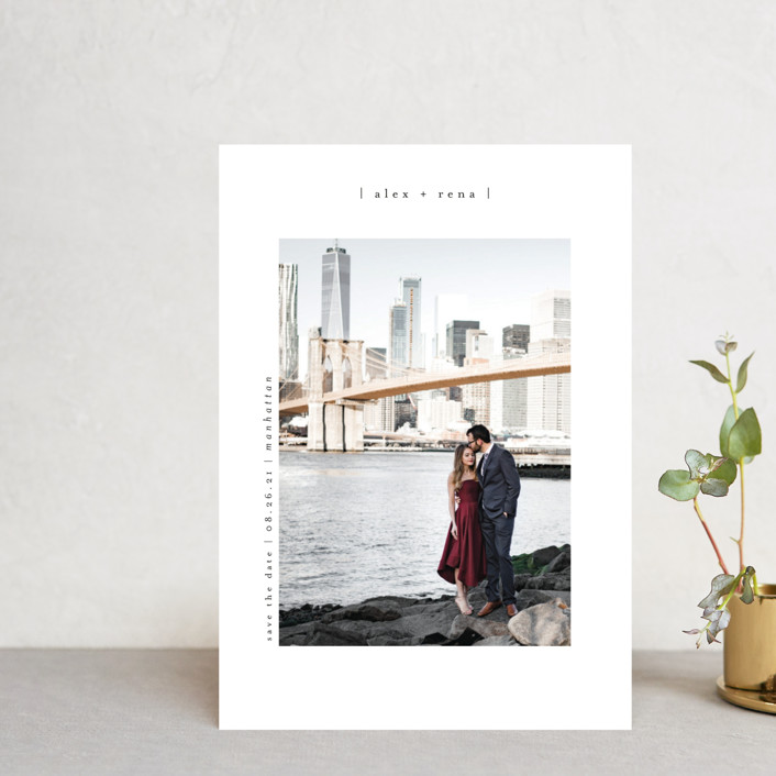 """Cityscape"" - Minimalist, Simple Save The Date Postcards in Onyx by Faith Dorn."