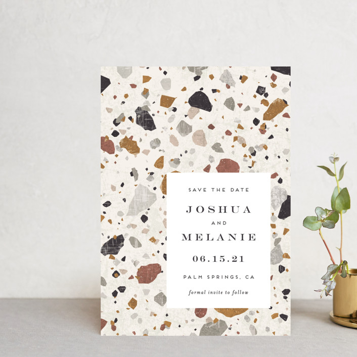 """Terrazzo"" - Modern Save The Date Postcards in stone by Amy Payne."