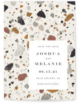 This is a beige save the date postcard by Amy Payne called Terrazzo with standard printing on signature in postcard.