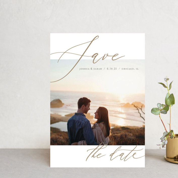 """""""Flow"""" - Minimalist, Simple Save The Date Postcards in Amber by Lisa Tamura Guerrero."""