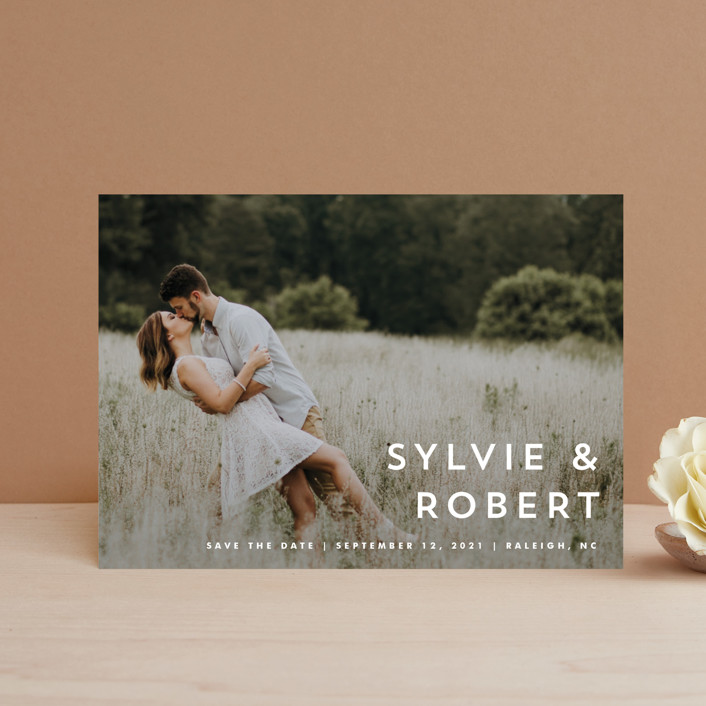 """Modern offset"" - Save The Date Postcards in Cream by Stacey Meacham."
