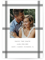 This is a black and white save the date postcard by carly reed walker called Keepsake with standard printing on signature in postcard.