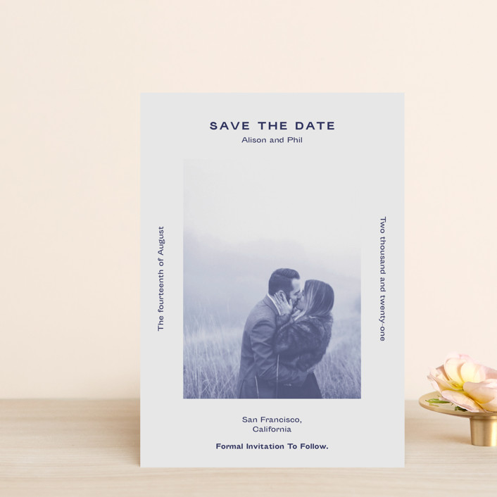 """Flyer"" - Save The Date Postcards in Navy by Jack Knoebber."