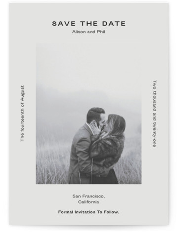 This is a bold and typographic, simple and minimalist, black Save the Dates by Jack Knoebber called Flyer with Standard printing on Signature in Postcard Flat Card format. Typography around a photo.