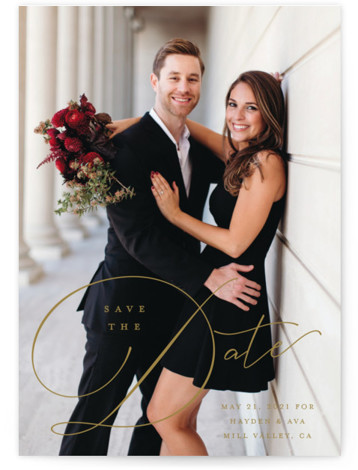 This is a classic and formal, brown Save the Dates by Carolyn MacLaren called Hold On with Standard printing on Signature in Postcard Flat Card format. Modern script with classic details.