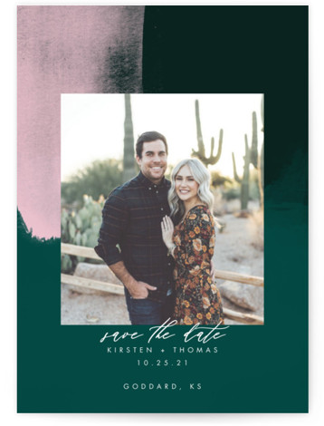 This is a modern, painterly, watercolor, green Save the Dates by Stephanie Given called Minimalist Abstract Sunset with Standard printing on Signature in Postcard Flat Card format. This minimalist save the date features a gorgeous sunset abstract background.