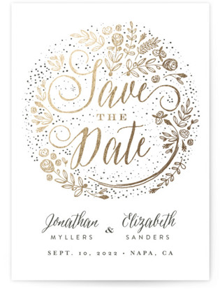 The Wedding Bouquet Foil-Pressed Save the Date Postcards