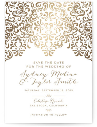 Black Tie Wedding Foil-Pressed Save the Date Postcards