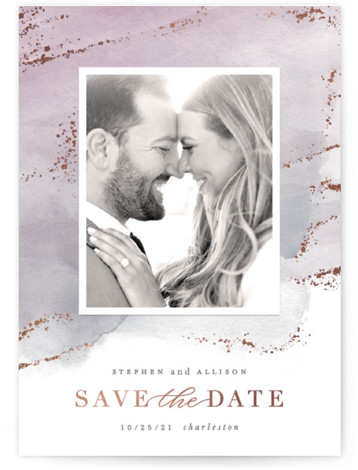 This is a purple Save the Dates by Hooray Creative called Seaside Watercolor with Foil Pressed printing on Signature in Postcard Flat Card format. Original watercolor background with gold foil accents and elegant typography.