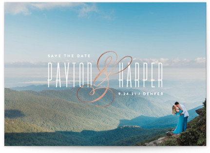 Exquisite Ampersand Foil-Pressed Save the Date Postcards