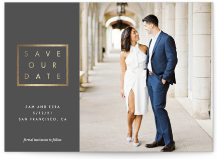 Look of Love Foil-Pressed Save the Date Postcards