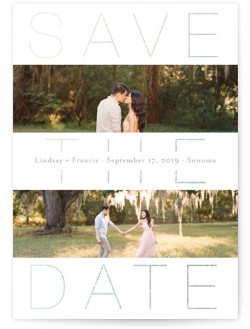 This is a portrait bold and typographic, white Save the Dates by Kimberly FitzSimons called Middle Ground with Foil Pressed printing on Signature in Postcard Flat Card format. A photo save the date card with an editorial feel and eye ...
