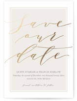 This is a ivory save the date postcard by Kaydi Bishop called Luxe Cream with foil-pressed printing on signature in postcard.