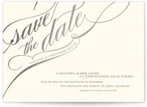 Winter Flourish Foil-Pressed Save the Date Postcards