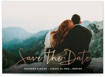 This is a white save the date postcard by Hooray Creative called Stylish Script with foil-pressed printing on signature in postcard.