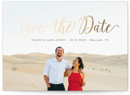 Stylish and Elegant Foil-Pressed Save the Date Postcards