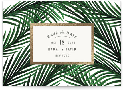 Tropical Love Foil-Pressed Save the Date Postcards