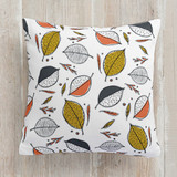 This is a grey pillow by Oscar & Emma called Nature Walk printing on premium cotton.