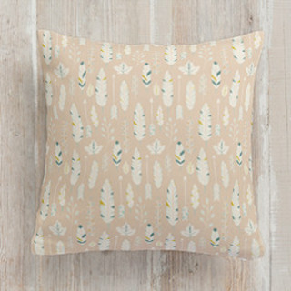 This is a blue pillow by GeekInk Design called Rustic Feathers printing on premium cotton.