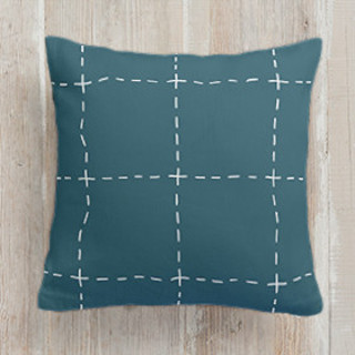 This is a blue pillow by Amy Kross called Drawn Pane printing on premium cotton.