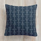 This is a blue pillow by Melanie Kosuge called MIRAI III printing on premium cotton.