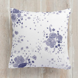 This is a blue pillow by Four Wet Feet Studio called Watercolor Blossoms printing on premium cotton.