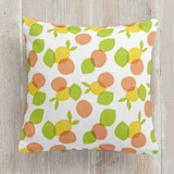 This is a colorful pillow by Susan Asbill called citrus daze printing on premium cotton.