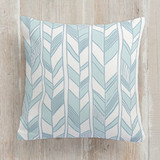 This is a blue pillow by Sharon O. called Sketchy Herringbone printing on premium cotton.