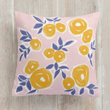 This is a blue pillow by Ariel Rutland called sketchy blooms printing on premium cotton.