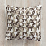 This is a brown pillow by KirstenEva called mini triangles printing on premium cotton.