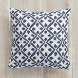 This is a blue pillow by Amy Hall called Sketchy Diamonds printing on premium cotton.