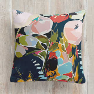 This is a blue pillow by Jess Franks called Thrive printing on premium cotton.