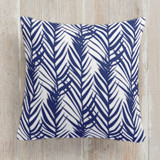 This is a blue pillow by Stacey Day called Palms printing on premium cotton.