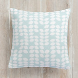 This is a blue pillow by Lea Delaveris called Stacks printing on premium cotton.