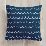 This is a blue pillow by Shirley Lin Schneider called Surf's Up printing on premium cotton.