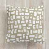 This is a brown pillow by Beth Schneider called Brushed printing on premium cotton.