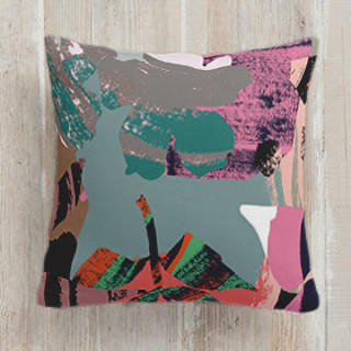 This is a brown pillow by Susanna Nousiainen called Garden printing on premium cotton.