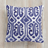 This is a blue pillow by Liz Conley called Painted Ikat printing on premium cotton.