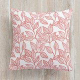 This is a white pillow by Sharon O. called Autumn Leaves printing on premium cotton.