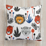 This is a black and white pillow by Oscar & Emma called Safari Cats printing on premium cotton.
